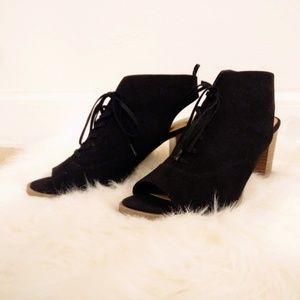 Gap Suede Peep-Toe Lace Up Booties